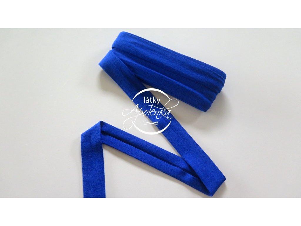 Šikmý proužek viskózový úplet 3M - královsky modrá
