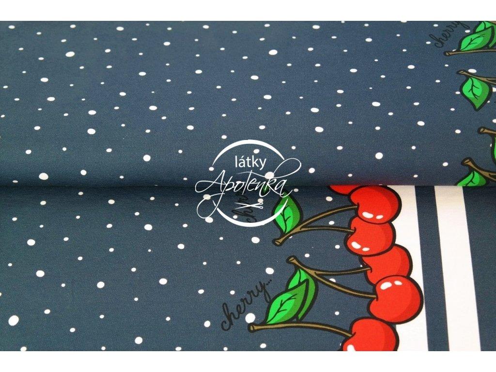 Úplet bordura třešně na modré 215g