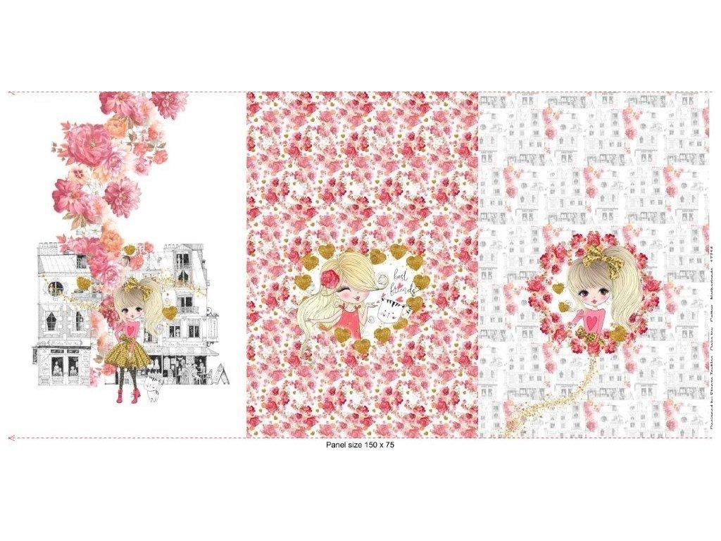 Trojpanel 75x150cm dívka s růžovými květy 215g
