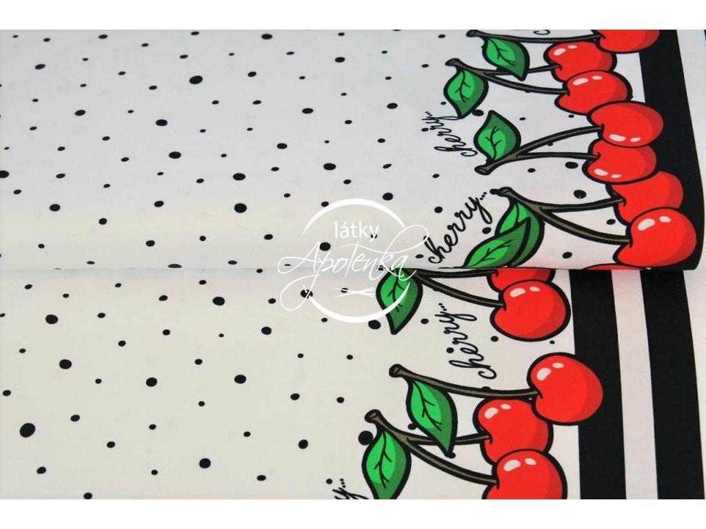 Úplet bordura třešně na bílé 215g