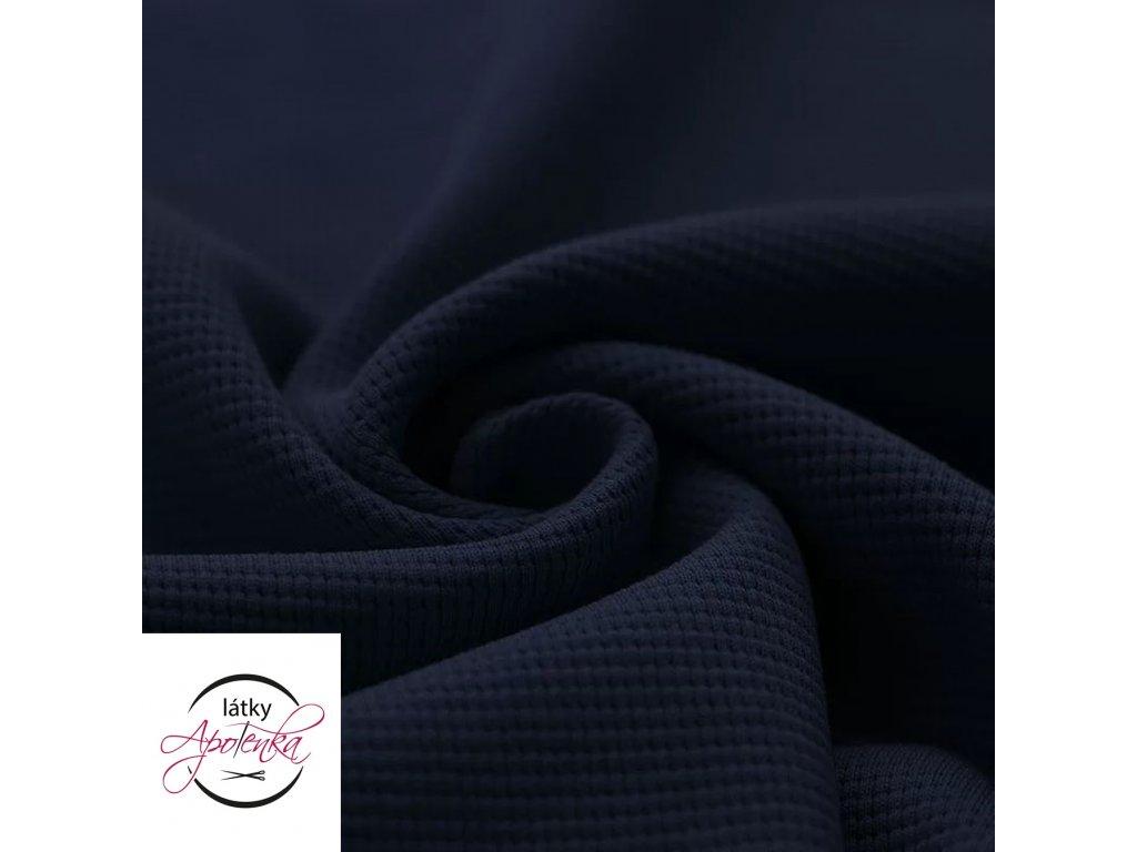 Zbytek 25cm - Bavlněný jednobarevný úplet - tm. modrá vafle 300g
