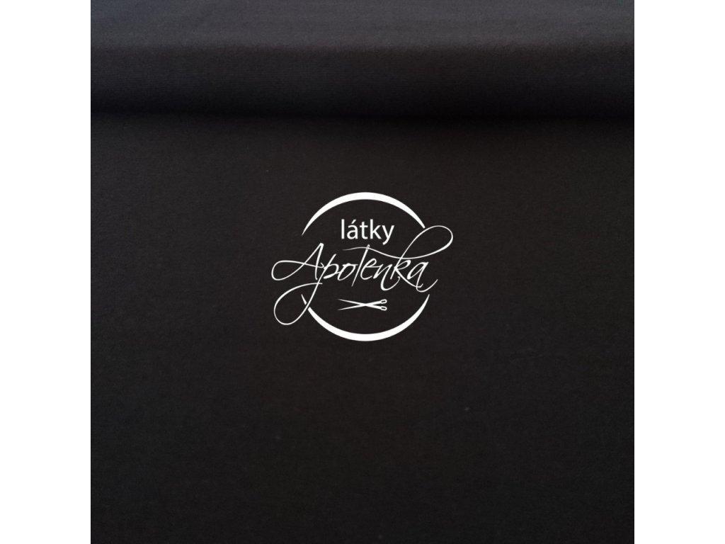 Zbytek 40cm - Bavlněný jednobarevný úplet - Černý 230g