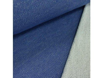 Zbytek 1,35m - Teplákovina jednobarevná modrá 400g