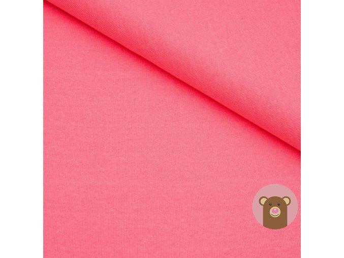 Náplet jemně žebrovaný neon růžová