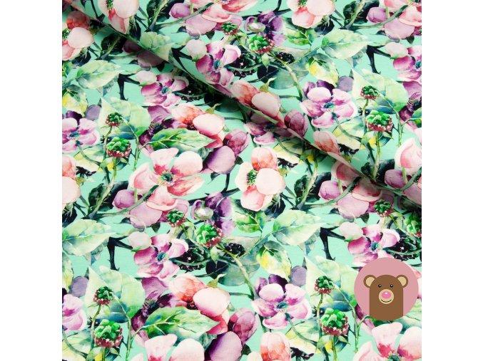 5479 2 teplakovina kvety na svetle zelene
