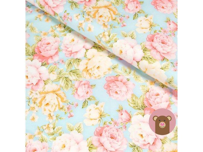 6010 2 teplakovina kvety na svetle modre