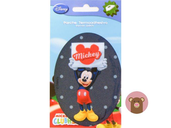 nažehlovačka Mickey na tmavě šedé - 10,5cm x 8cm