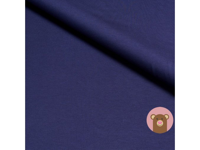 Bambusová teplákovina jednobarevná tmavě modrá