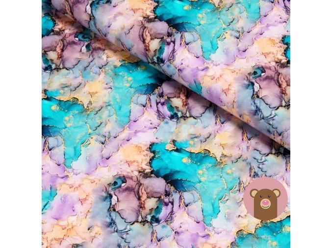 teplákovina Rozpité barvy - tyrkysovo-růžové