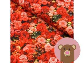 teplákovina Červené květy