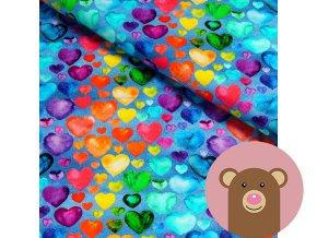 úplet barevná srdíčka na jeansu