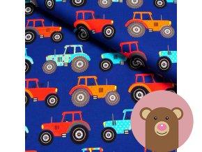 6328 teplakovina barevne traktory na modre