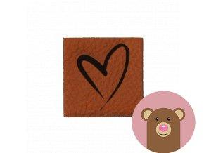 Štítek z koženky - Srdce
