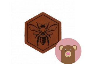 Štítek z koženky - včelka