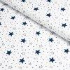 100% bavlněný úplet Tmavě modré hvězdičky na bílé