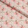 6223 teplakovina kvety s ptackem na svetle sede