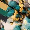 teplákovina Rozpité barvy - modrozelené se zlatou