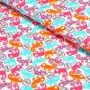 100% bavlněný úplet Růžovo-mint chameleoni na světlé