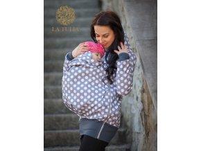 La Tulia softshellová nosící bunda puntíky na šedé bybywearing softshell jacket (4)