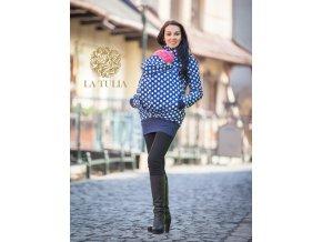 La Tulia softshellová bunda pro nošení dětí puntíky na modré (4)