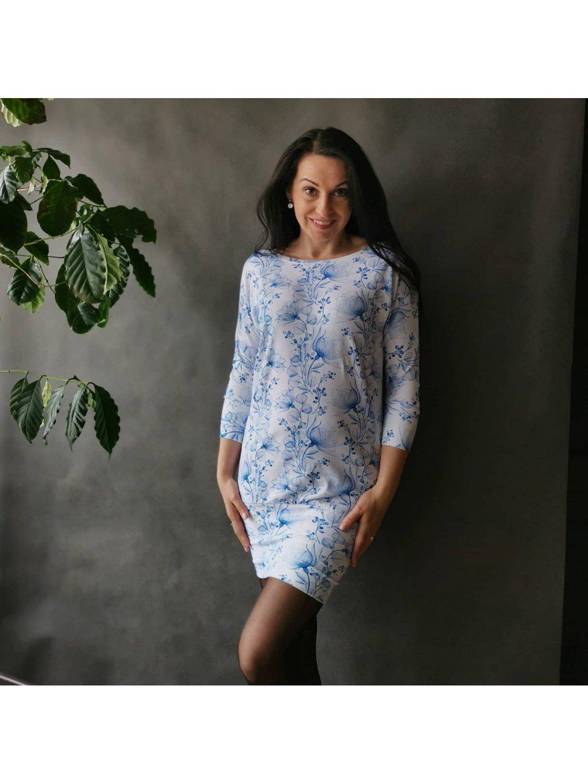 Oversize šaty Modrý akvarel