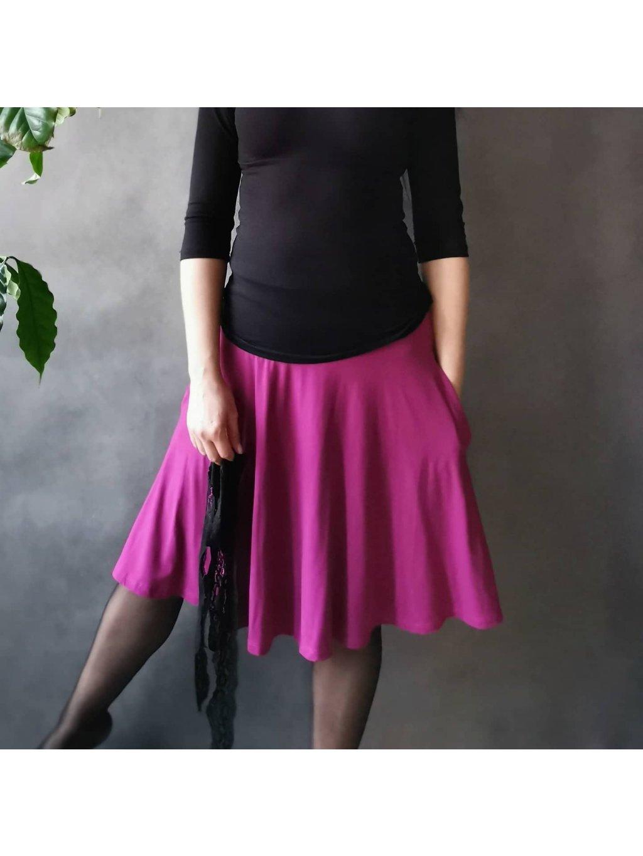 Půlkolová sukně s kapsami Tmavě fuchsiová