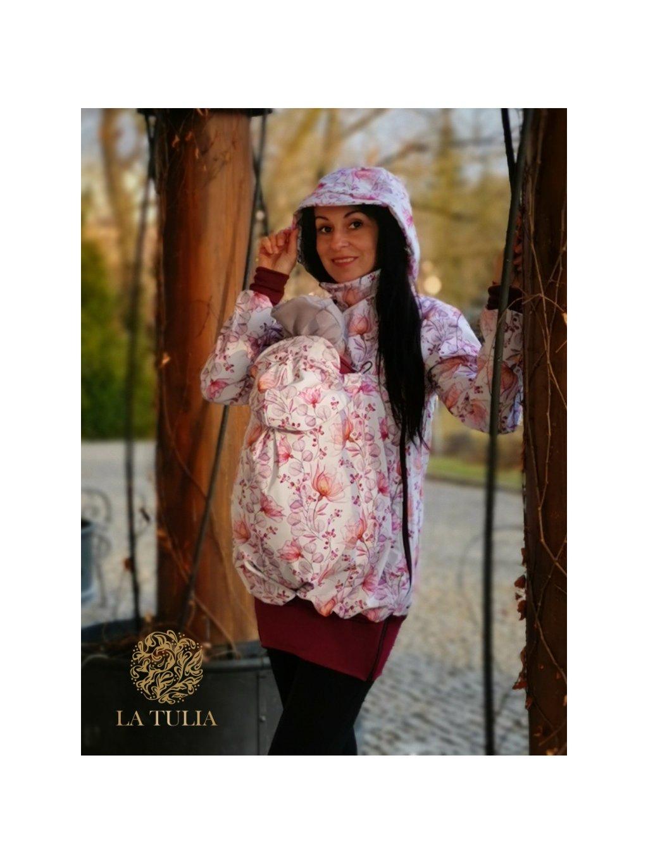 Nosící bunda Bunda pre nosenie detí La Tulia Vínové květy (4)