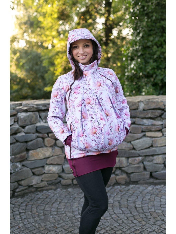 La Tulia nosící bunda těhotenská bunda Vínový akvarel (3)