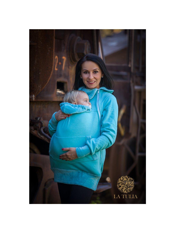 La Tulia nosící mikina z warmkeeperu tyrkysová babywearing hoodie (2)