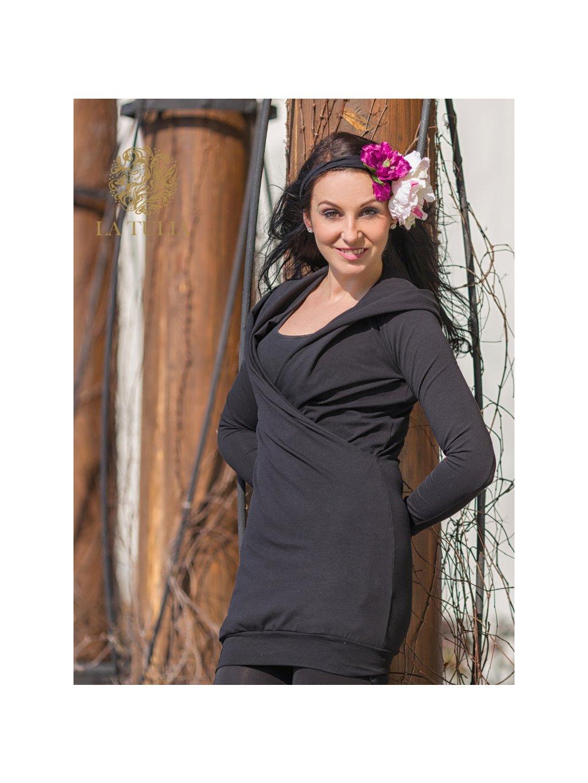 La Tulia mikinové štay hoodie dress těhotenská mikina nosící mikina těhotenské mikinové šaty Café Noir (1)