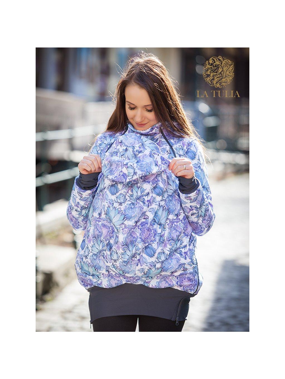 La Tulia nosící bunda babywearing jacket bunda pro nošení dětí modrá zahrada (5) kopie