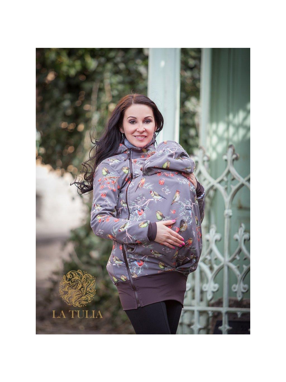 La Tulia tulícíc bunda pro nošení dětí ptáčci na hnědé (1)