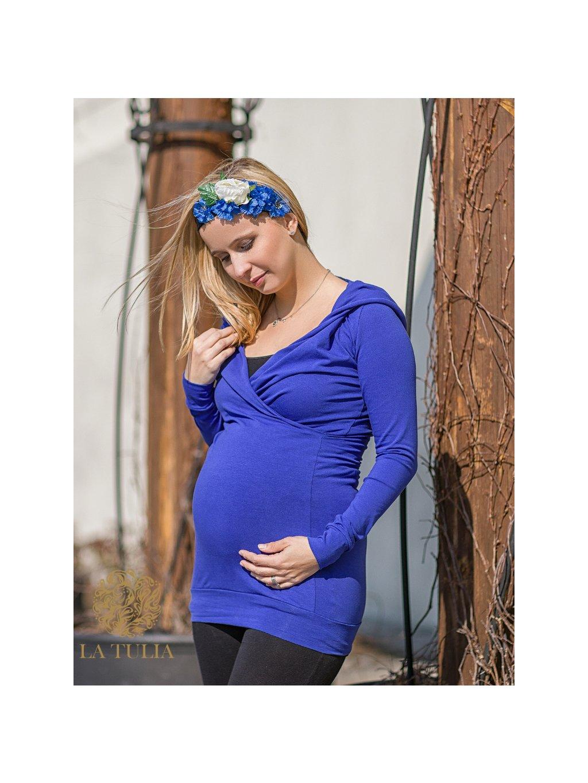 La Tulia mikinové šaty hoodie dress kojící šaty těhotenské šaty Sapphire blue (1)