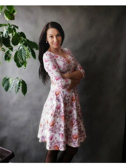 Květované šaty s půlkolovou sukní a kapsami Vínový akvarel La Tulia (1)