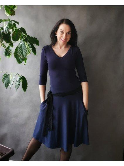 Šaty s půlkolovou sukní a kapsami Námořnická modrá La Tulia (3)