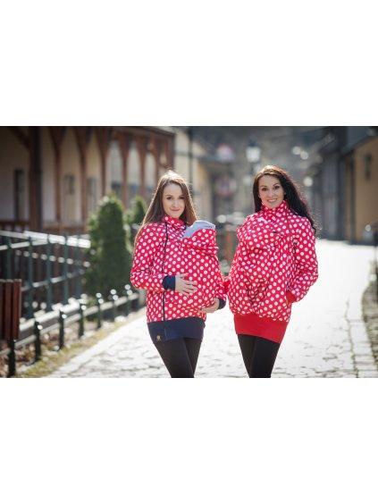 La Tulia nosící bunda babywearing jacket bunda pro nošení dětí red polka dots puntíky na červené