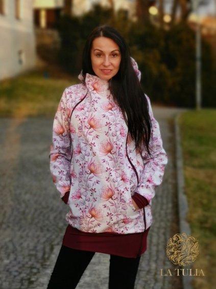 Nosící bunda Bunda pre nosenie detí La Tulia Vínové květy (3)