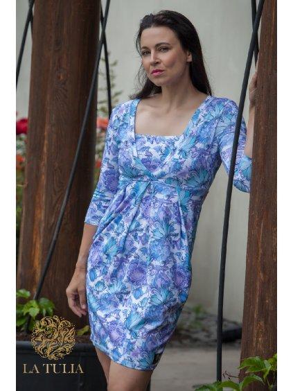 Těhotenské a kojící šaty Modrá zahrada