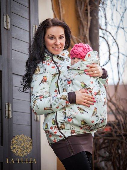 La Tulia tulící bunda pro nošení dětí ptáčci na mentolové (5)