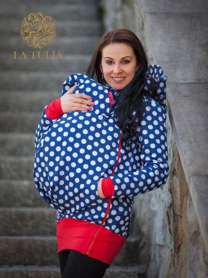 La Tulia softshellová bunda pro nošení dětí puntíky na modré babywearing jacket (3)