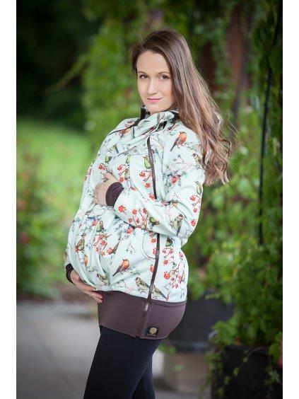La Tulia těhotenská nosící bunda ptáčci na zelenkavé