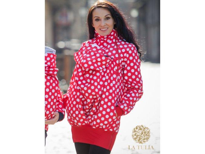La Tulia babywearing jacket nosící bundy red polka dots puntíky na červené (1)
