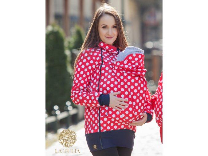 La Tulia babywearing jacket nosící bundy red polka dots puntíky na červené (2)