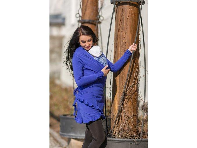 Zavinovací cardigan Sapphire Blue těhotenský cardigan zavinovací cardigan pro nošení dětí (4)