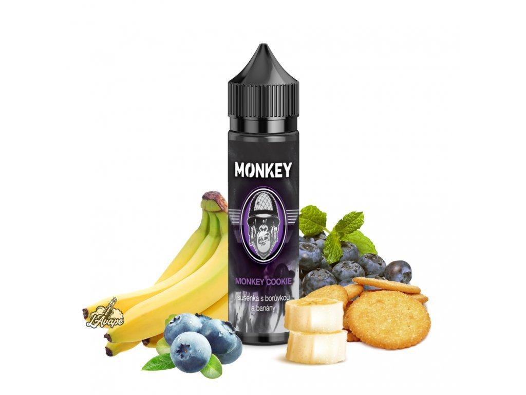 Příchuť SNV 12 ml v 60 ml lahvičce - Monkey Liquid Monkey Cookie - sušenky, banán, borůvky. lavape.cz