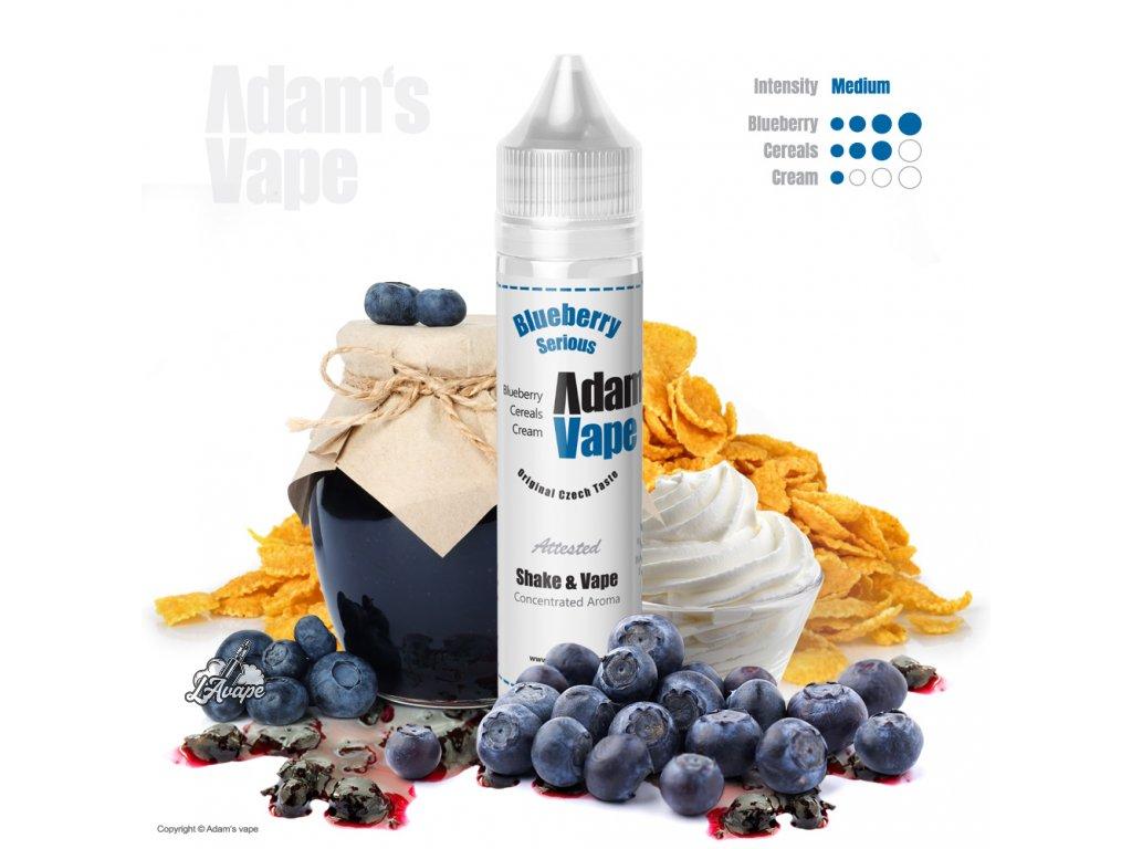 Příchuť SNV 12 ml v 60ml lahvičce - Adam´s Vape Blueberry Serious SnV 12 ml - borůvky, krém, cereálie - lavape.cz