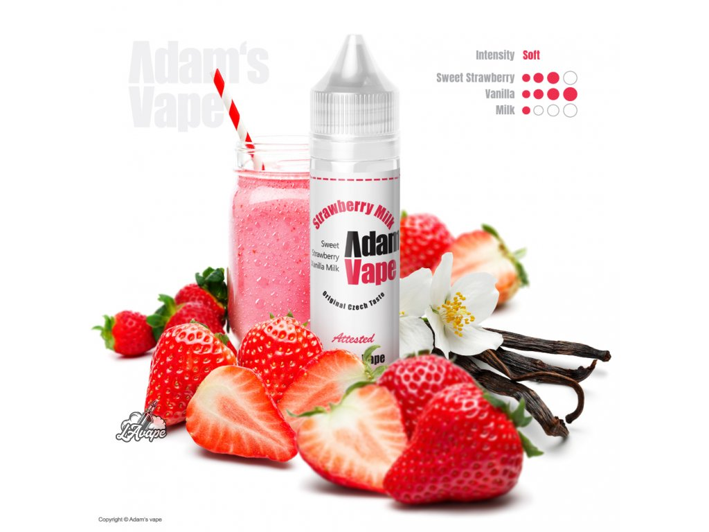 Adam´s Vape Strawberry Milk SnV 12 ml - jahodové mléko, milkshake, vanilka - LAVAPE.CZ