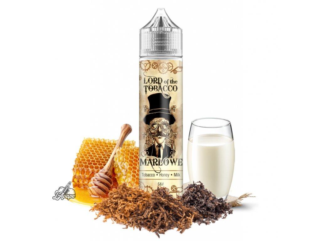 Lord Of The Tobacco - Marlowe - opojné spojení zlatého tabáku s tou nejlepší harmonií chutí lesního medu a mléka. Možná si i Vy vybavíte jak Vám babička připravovala teplé mléko s medem? Díky této chuti si jej můžete připomenout i v dospělosti a ve spojení s tabákem? Proč ne! - lavape.cz