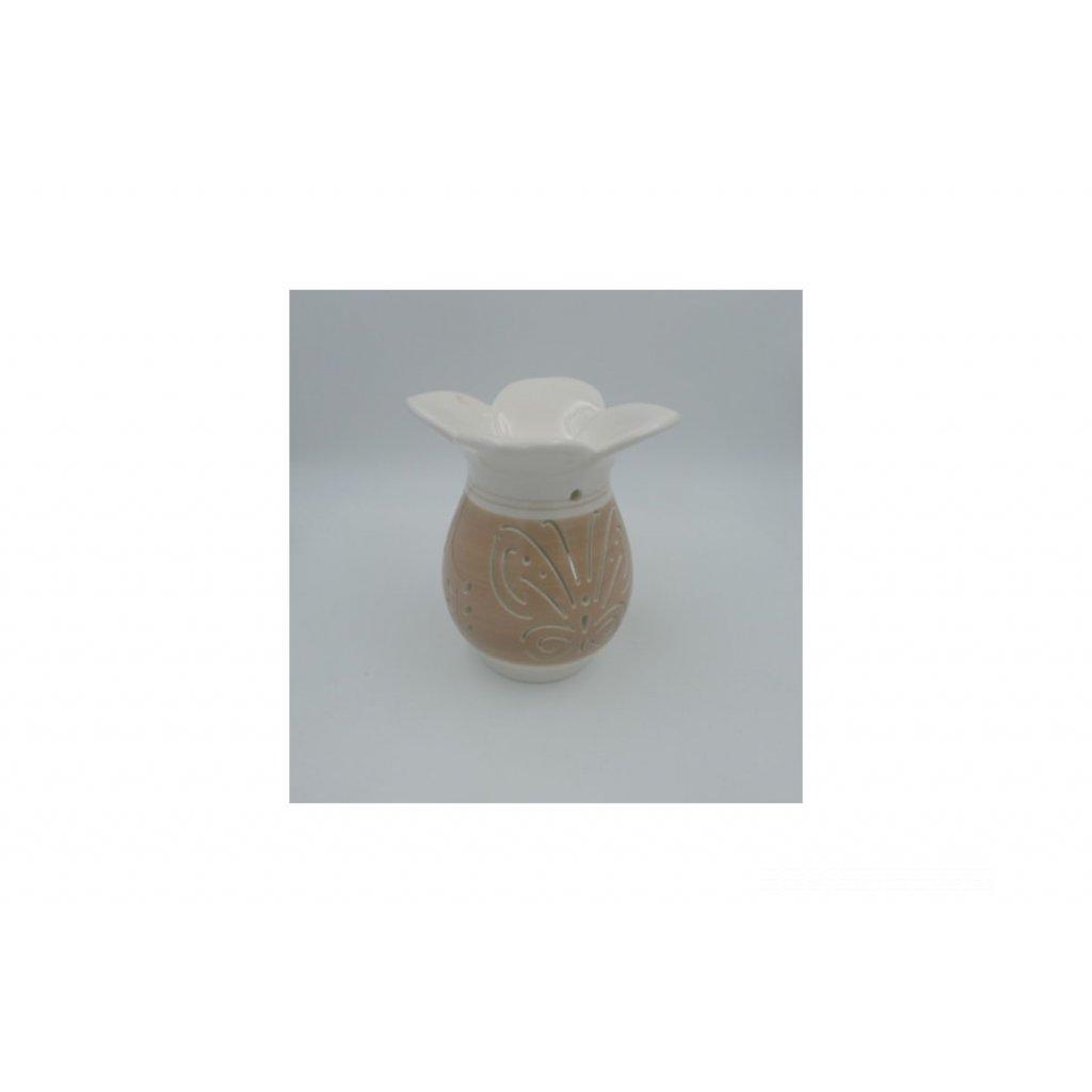 Aroma lampa s motýľom keramická krémová 11x11x16 cm