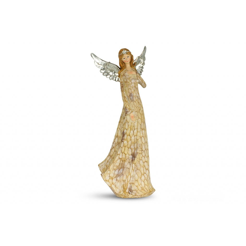 Anjel so striebornými krídlami, dekorácia z polyresinu 21x54,5x17cm